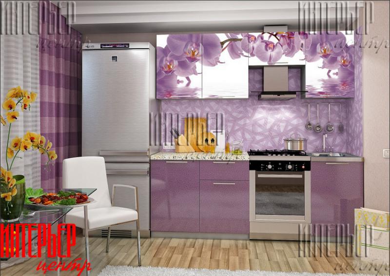 """Кухонный гарнитур 2.1 """"Олива"""" фотопечать - орхидея"""