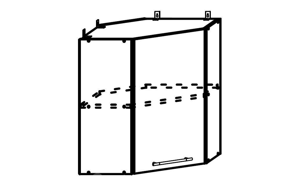 София ШВУ 600*600 Шкаф верхний угловой с одной дверцей