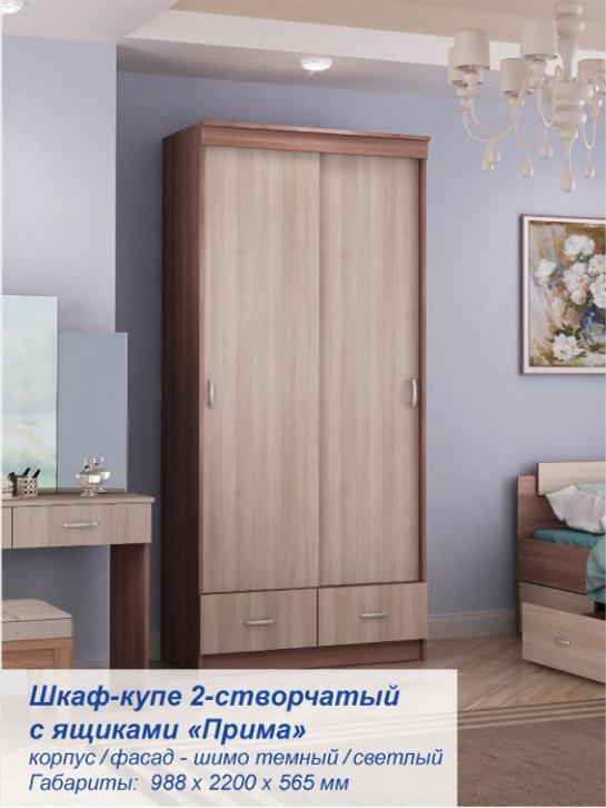 Шкаф - купе 2-х створчатый Прима ясень