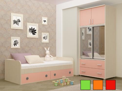Детская кровать - Радуга (розовая)