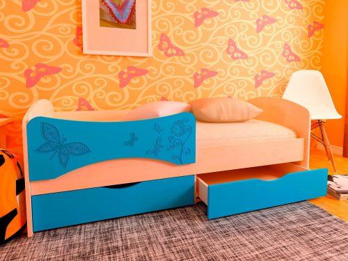 Детская кровать с фотопечатью Бабочки