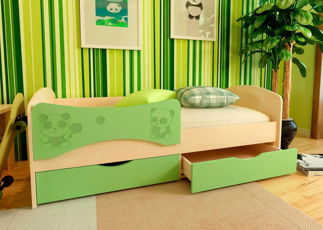 Детская кровать с фотопечатью Панда 1