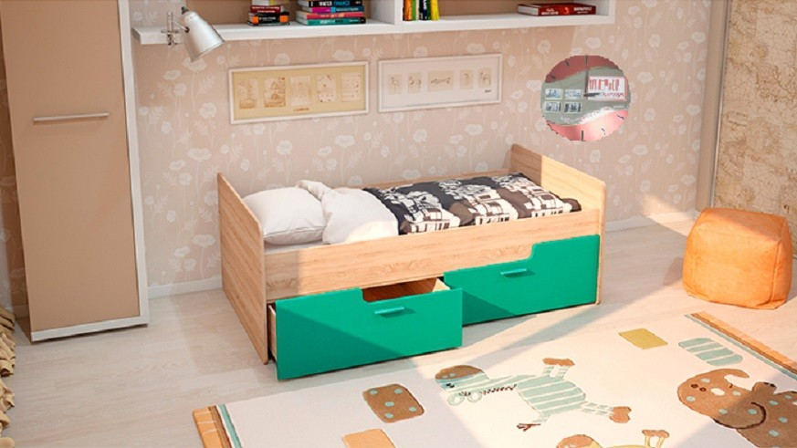 Детская кровать - Умка - бирюза металик