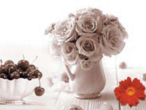 Стеновая панель (Скинали) для кухни - Фрукты и цветы