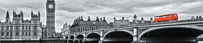 Стеновая панель (Скинали) для кухни - Лондон черно-белый №194