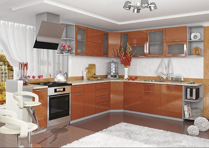 Кухня София угловая 3050х2650 оранж