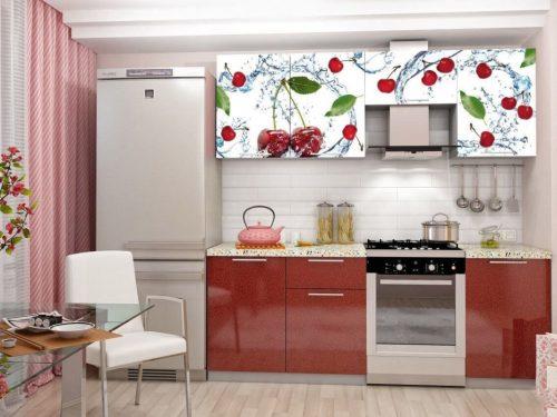 """Кухонный гарнитур 2.1 """"Олива"""" с фотопечатью - Вишня"""