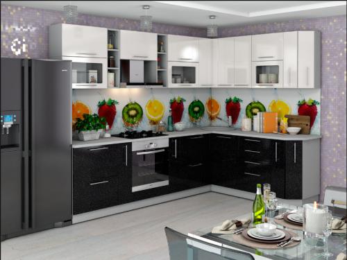 Кухня София 280х186 бело - черный металик угловая