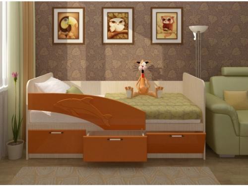 """Детская Кровать """"Дельфин"""" 1.6 Метра. Оранж"""