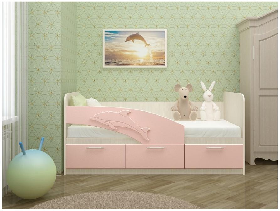 """Детская Кровать """"Дельфин"""" 1.6 м. Розовая"""