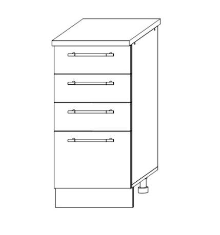 ШНЯ-400 Шкаф нижний с 4 ящиками