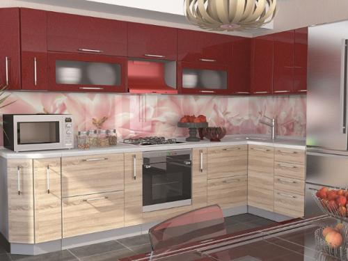 Кухонный гарнитур - Микс (дуб сонома/гранат)