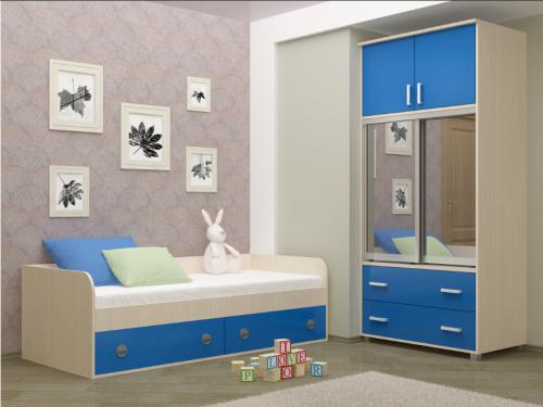Детская кровать - Радуга (синяя)