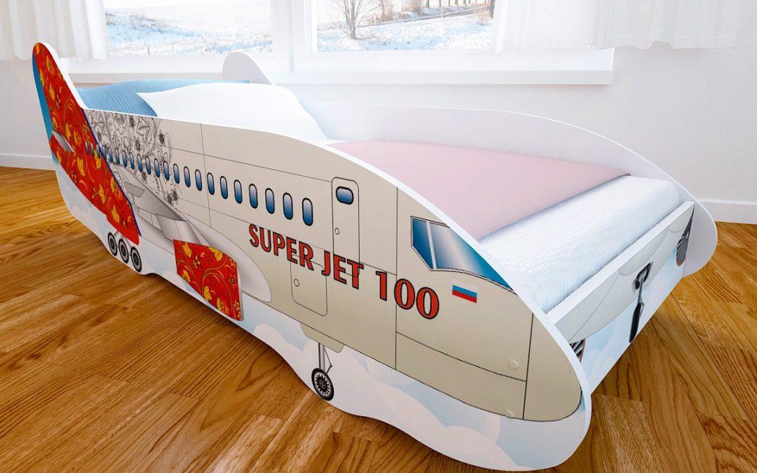 Детская кровать с фотопечатью Самолет
