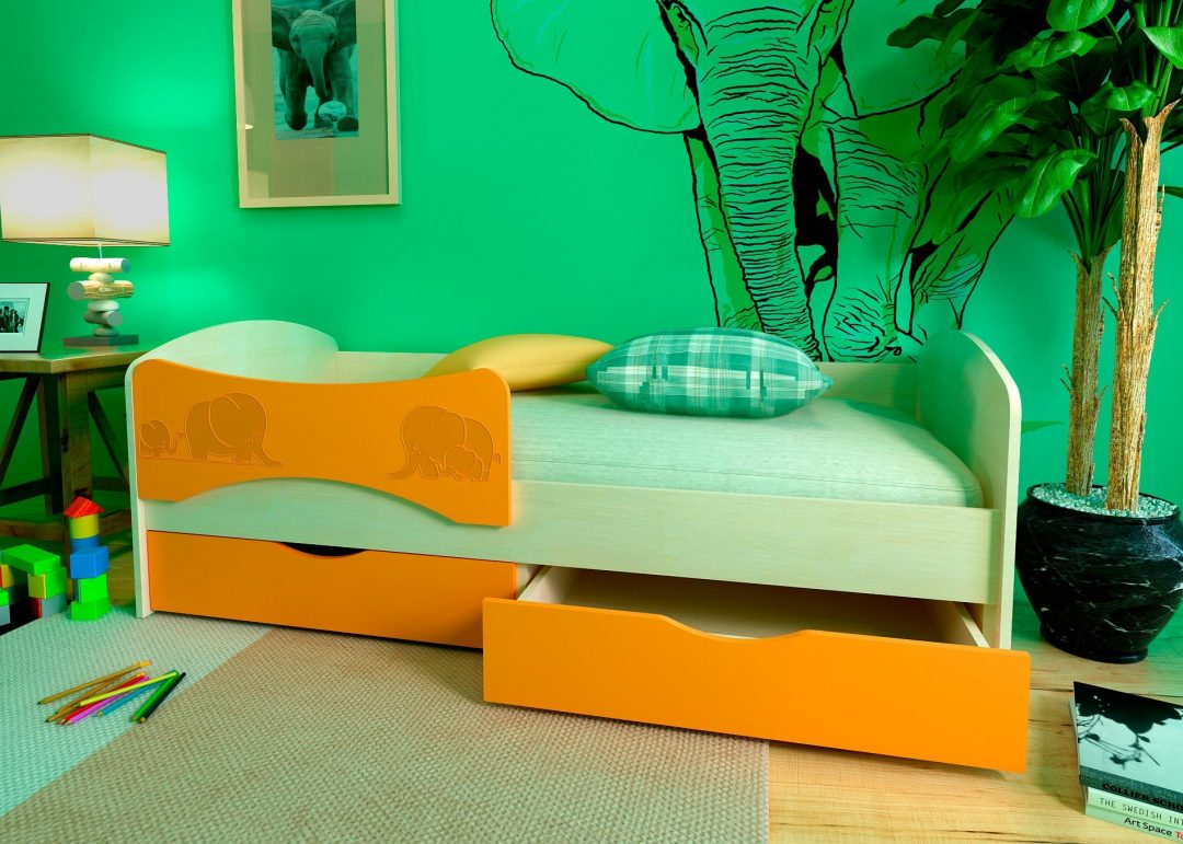 Детская кровать с фотопечатью Слоники 3