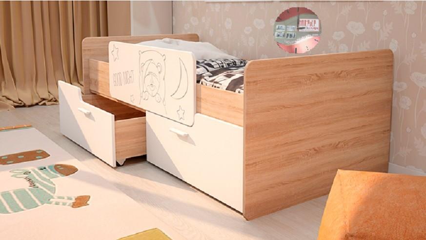 Детская кровать - Умка с бортиком - белый глянец