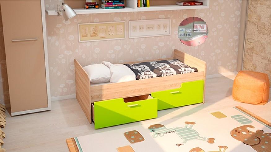 Детская кровать - Умка лайм - глянец