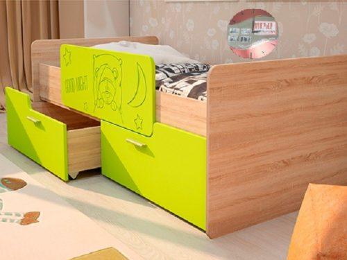 Детская кровать - Умка с бортиком - лайм глянец