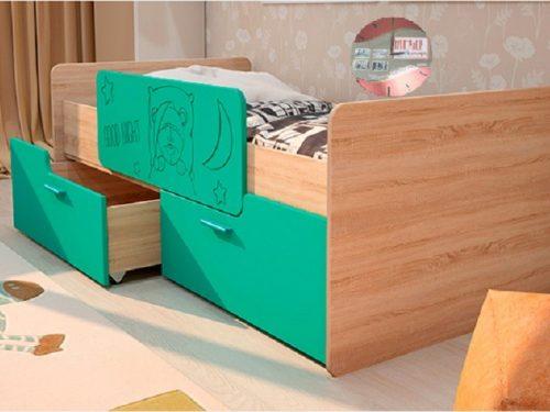Детская кровать - Умка с бортиком - бирюза металик