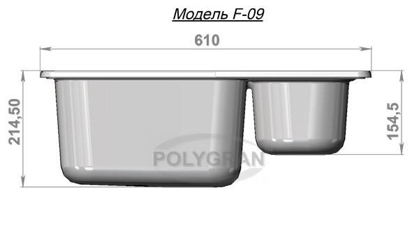 Мойка из исскуственного камня POLYGRAN F-09
