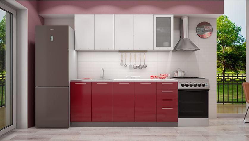 Кухонный гарнитур - бело красный