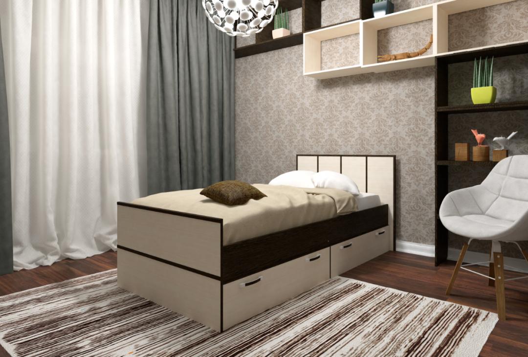 Кровать с ящиками-0.9