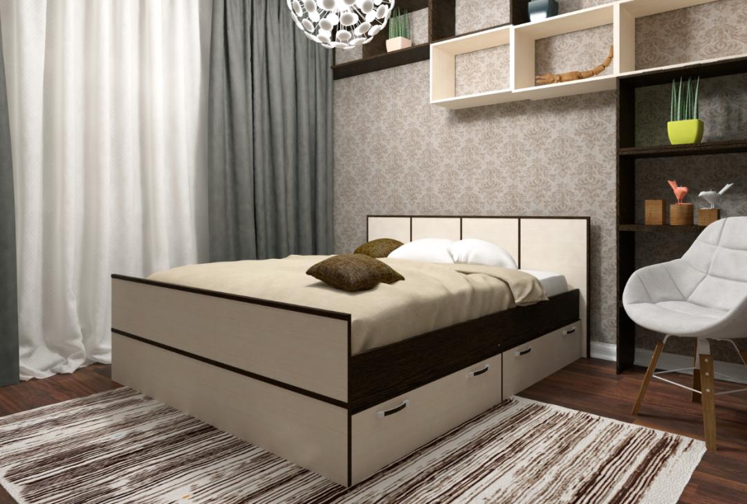 Кровать с ящиками - 1.6
