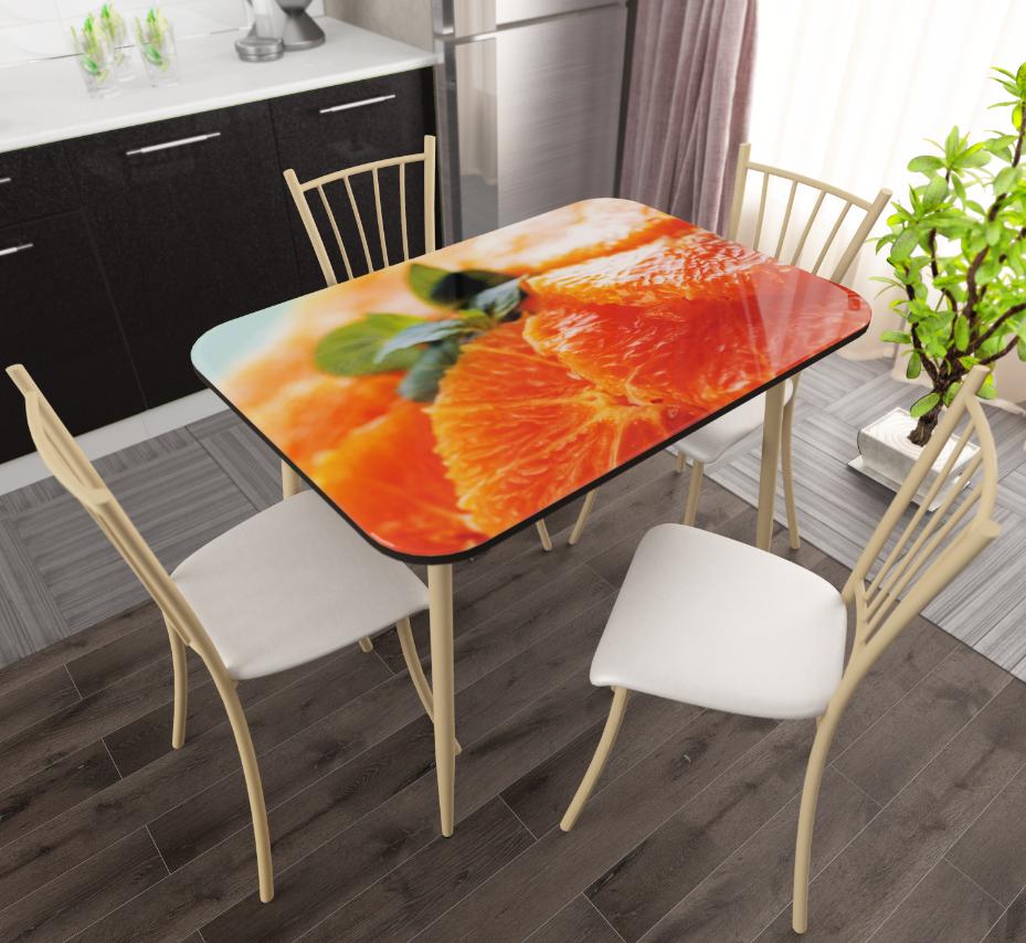 Стол обеденный стекло - Апельсин