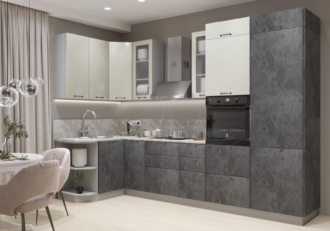Угловая кухня в стиле Лофт -140х320