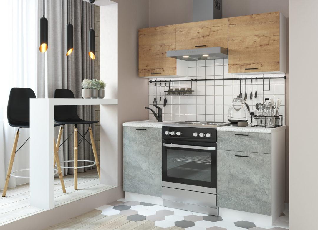Кухня Дуся 1.6 (цемент-дуб бунратти)